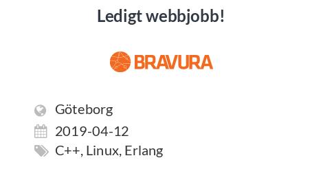 Ledigt jobb: Junior Developer / Programmer / C till Bravura