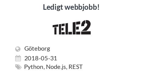 Ledigt jobb: Software Developer to Tele2 IoT till Tele2